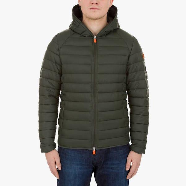 Men's Lightweight Puffer Hooded Jacket in Dark Green