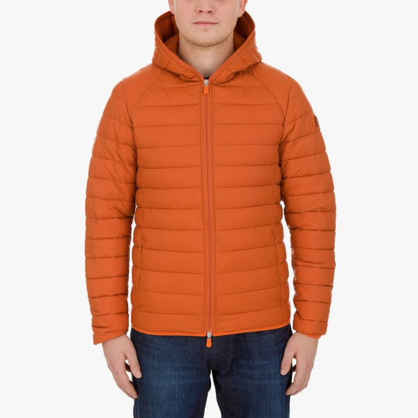 Men's Lightweight Puffer Hooded Jacket in Apricot Orange