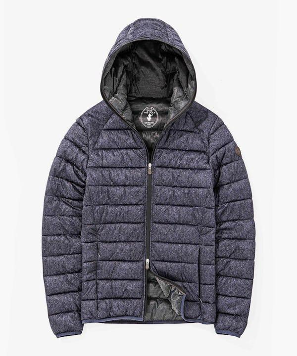 Mens Stretch Hoodied Jacket in Blue Melange