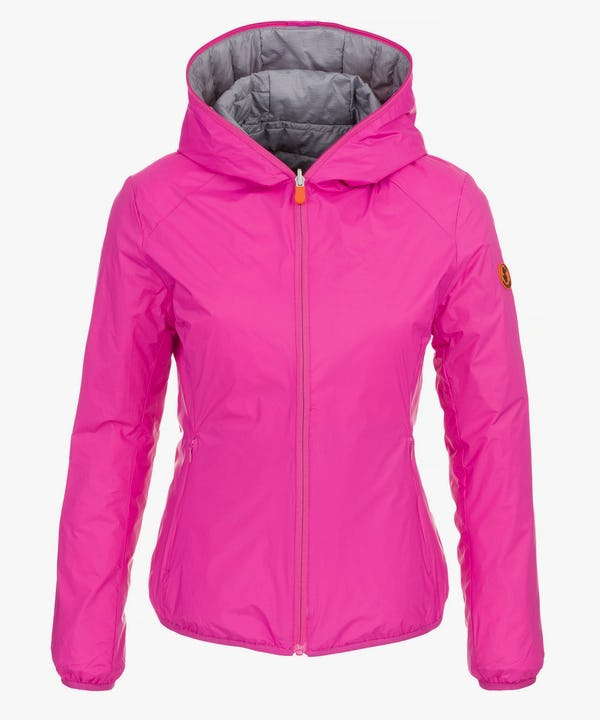 Women's Hooded Jacket (Reversible) in Fucsia Pink