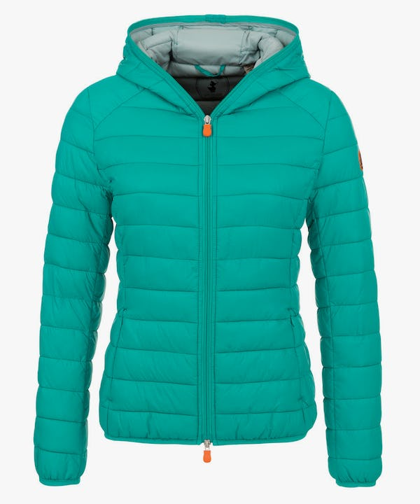 Women's Hooded Puffer Jacket in Waterfall Blue