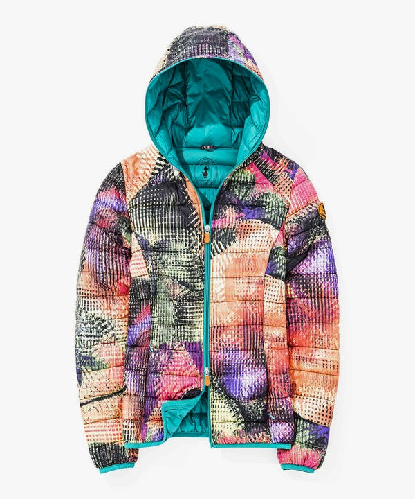 Women's Hoodied Jacket with Floral Print