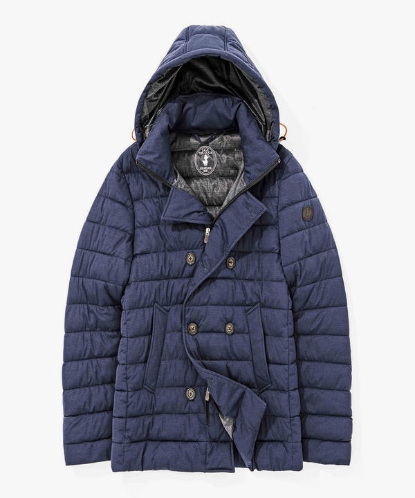 Men's Quilted Parka in Navy Blue Melange