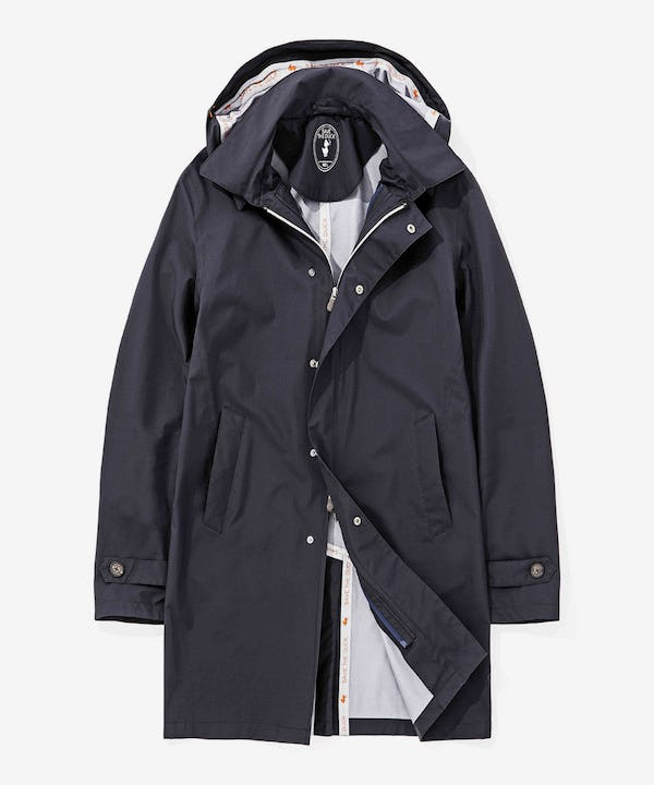 Men's Rainproof Trench Coat with Hoody in Blue