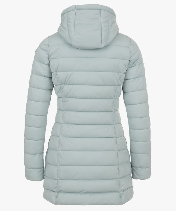 Women's Packable Long Puffer Coat in Dusty Blue