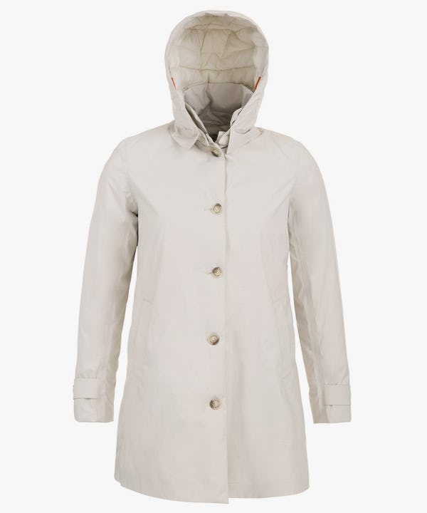 Women's Padded Rain Coat in Snow White