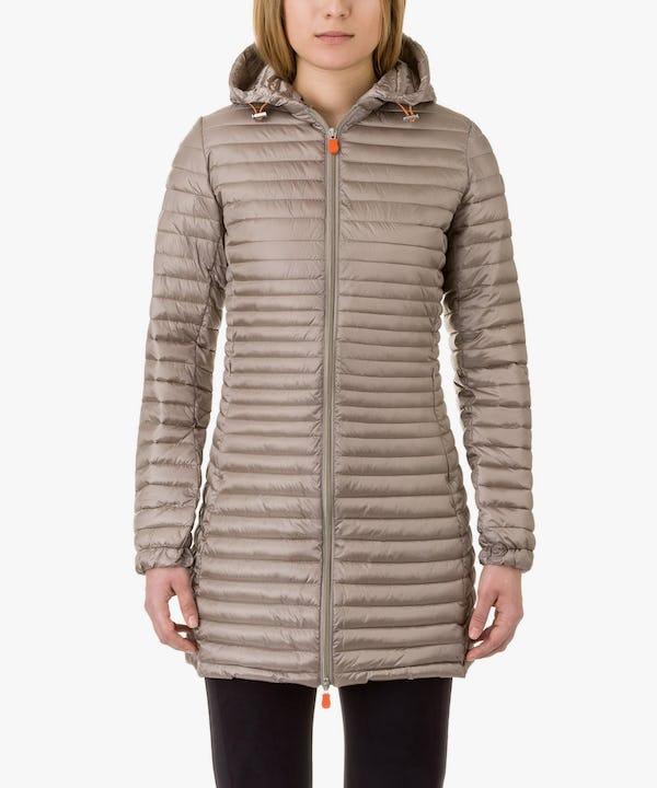 Women's Hooded Coat in Pearl Grey