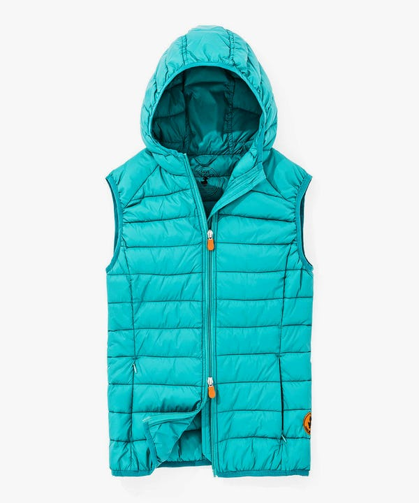 Packable Women's Hoodied Vest in Waterfall Blue
