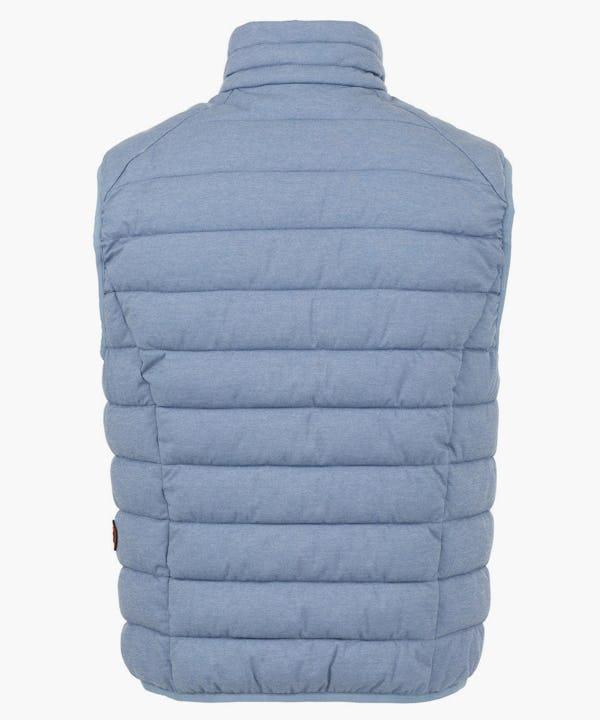 Mens Stretch Puffer Vest in Blue Fog Melange