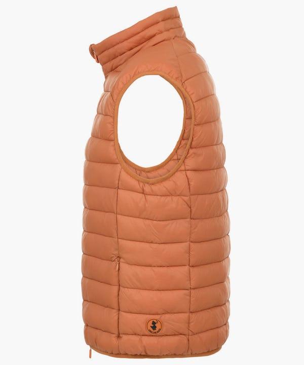 Mens Lightweight Puffer Vest in Apricot Orange