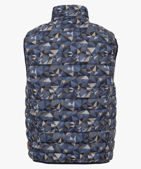 Men's Puffer Vest in Blue Geometric Camo