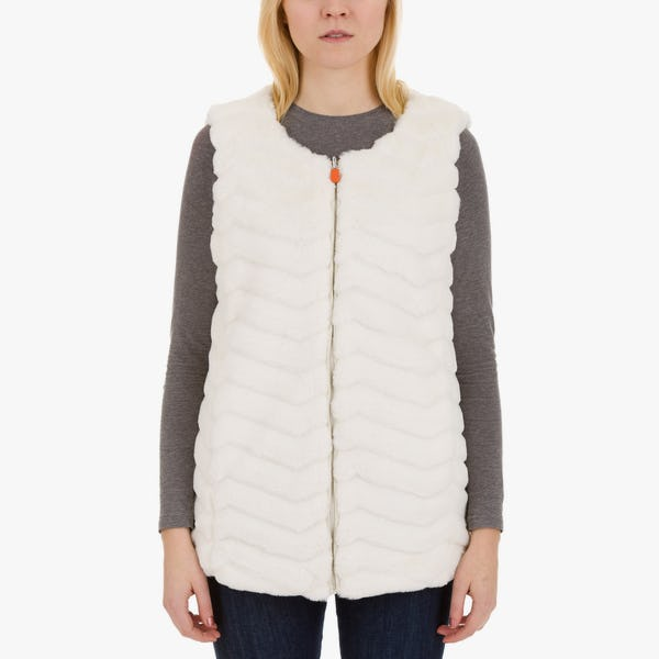 Women's Reversible Faux Fur Sleeveless Jacket in Snow White