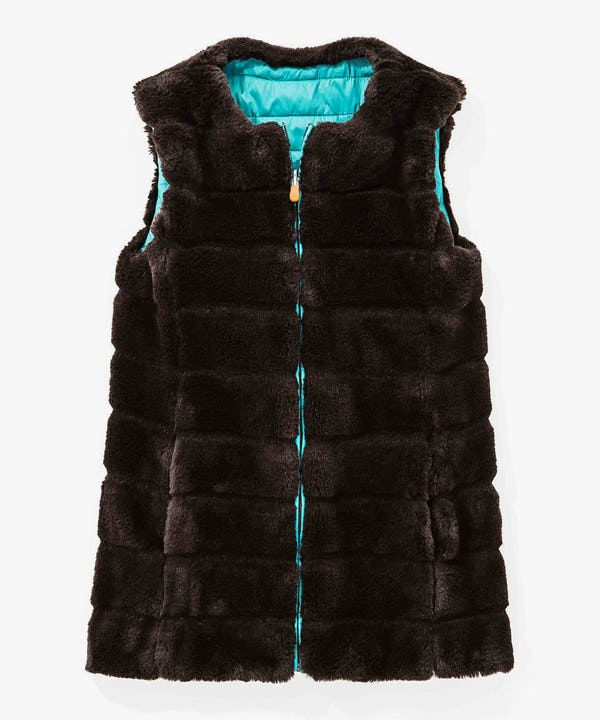 Faux Fur Reversible Women's Vest in Brown Black