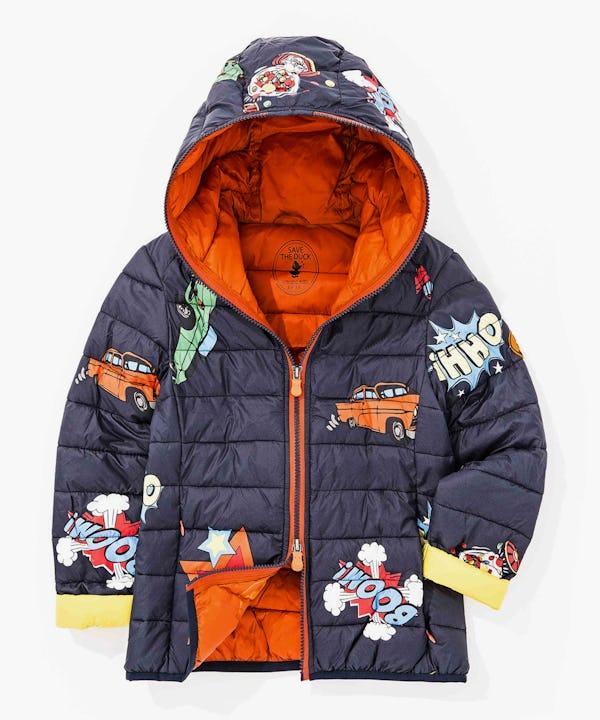 Boy's Jacket with Cartoon Print in Dark Blue
