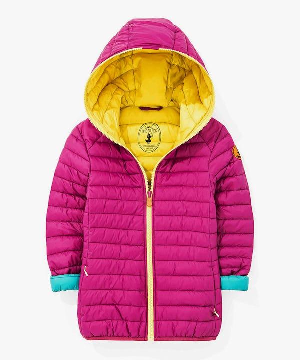 Girl Hoodied Coat in Dark Pink
