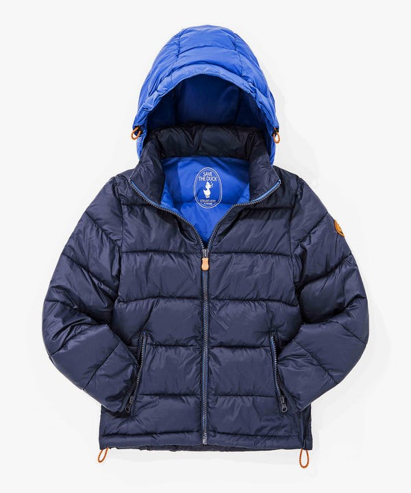 Warm Boys Jacket with Hoody in Navy Blue