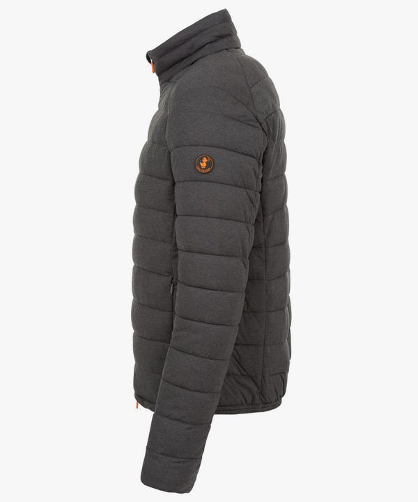Men's Puffer Stretch Jacket in Charcoal Grey Melange