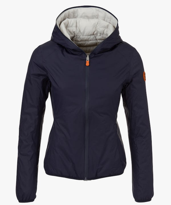 Women's Hooded Reversible Jacket in Navy Blue