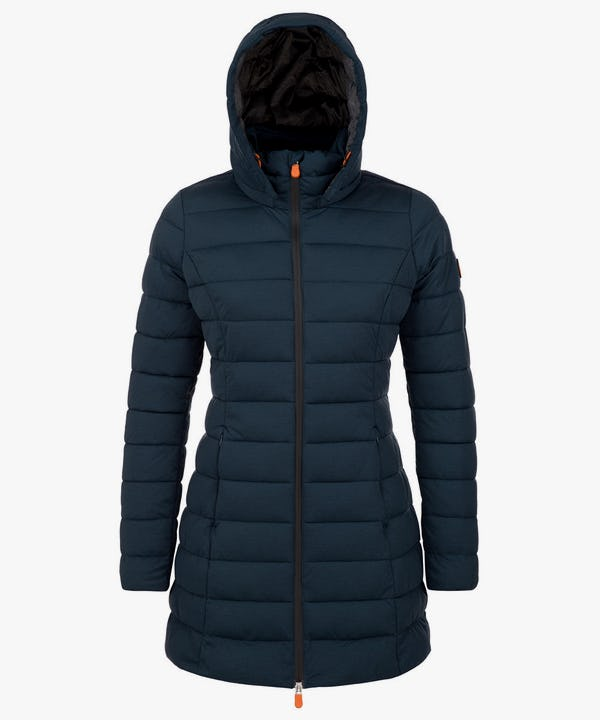 Women's Packable Long Puffer Coat in Navy Blue Melange