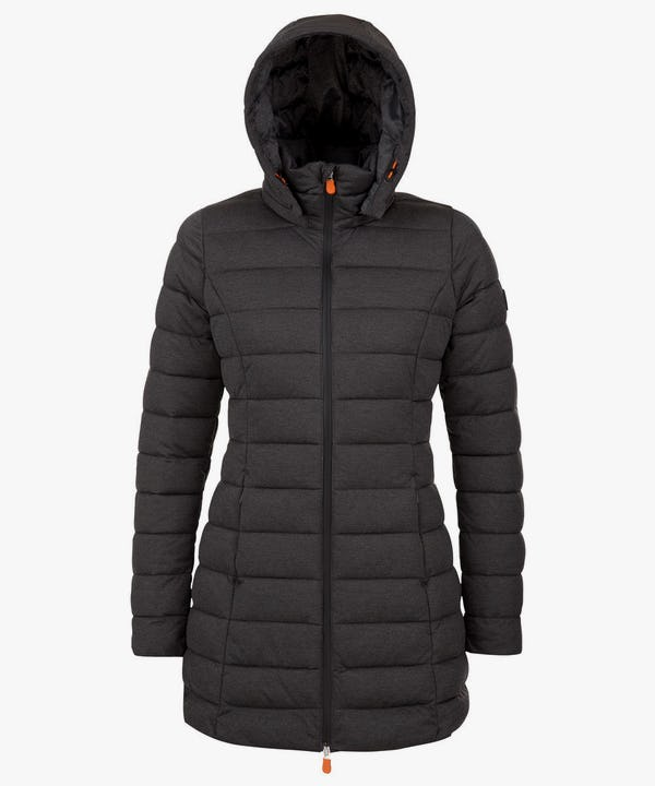 Women's Packable Long Puffer Coat in Charcoal Grey Melange