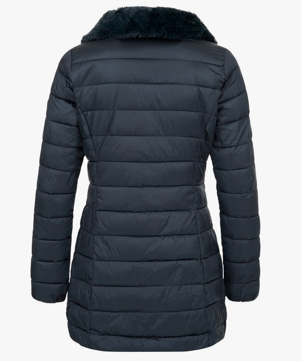 Women's Puffer Coat with Faux Fur Collar in Dark Green