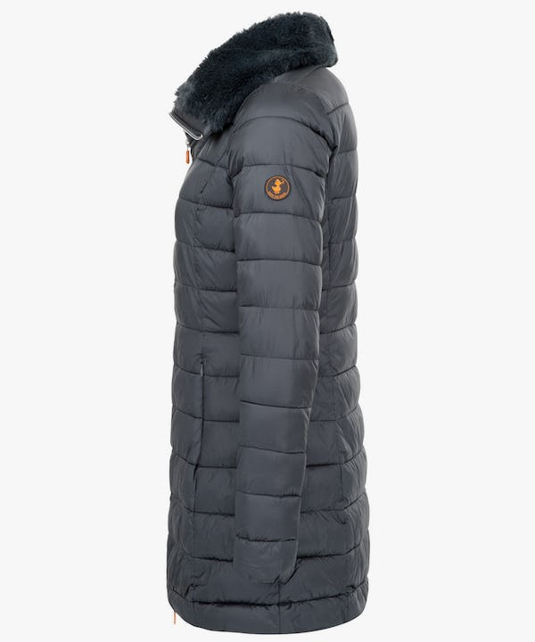 Women's Puffer Coat with Faux Fur Collar in Steel Grey