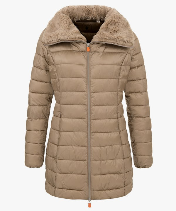 Women's Puffer Coat with Faux Fur Collar in Sand Beige
