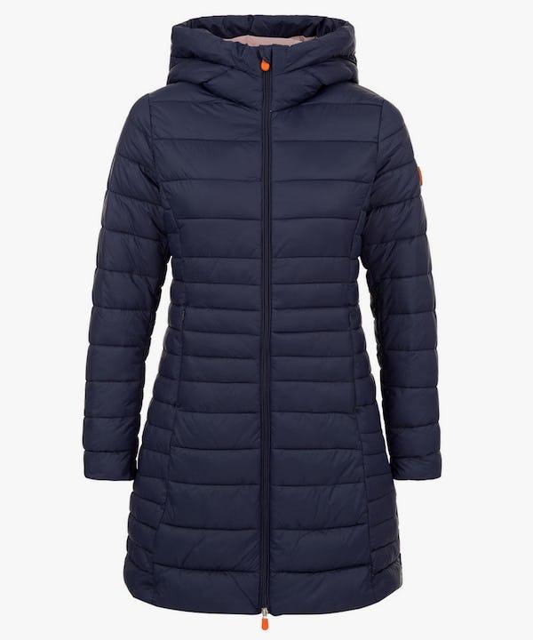 Women's Puffer Long Coat in Navy Blue