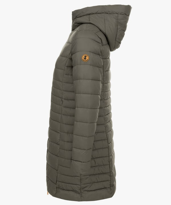 Women's Puffer Long Coat in Turtle Dove