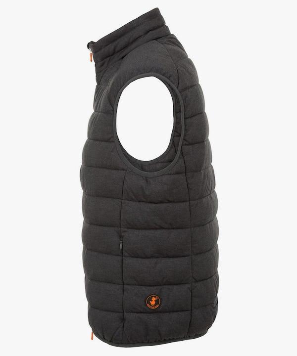 Mens Stretch Puffer Vest in Charcoal Grey Melange