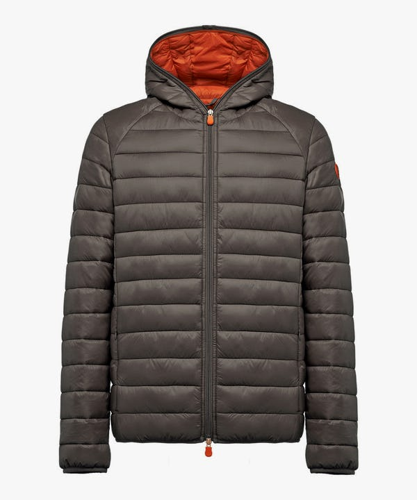 Men's Lightweight Puffer Hooded Jacket in Charcoal Grey