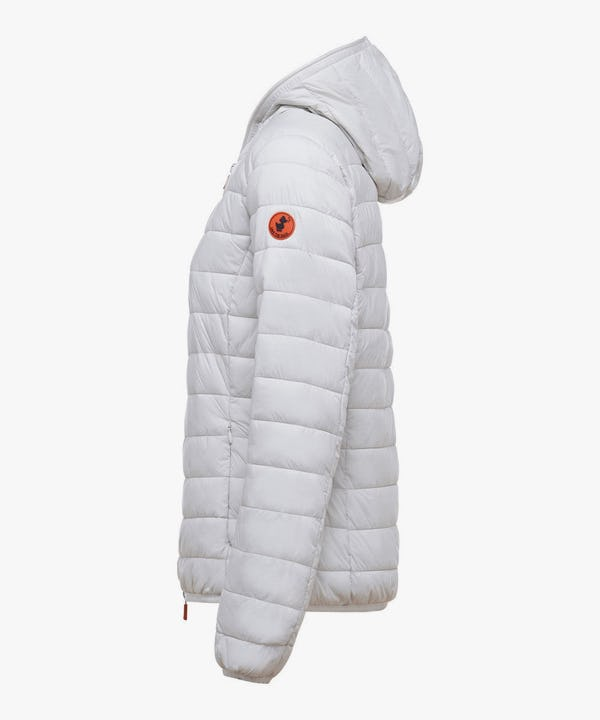 Women's Hooded Puffer Jacket in Snow White
