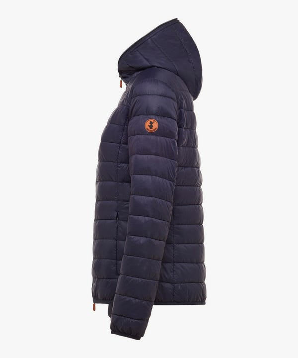 Women's Hooded Puffer Jacket in Navy Blue