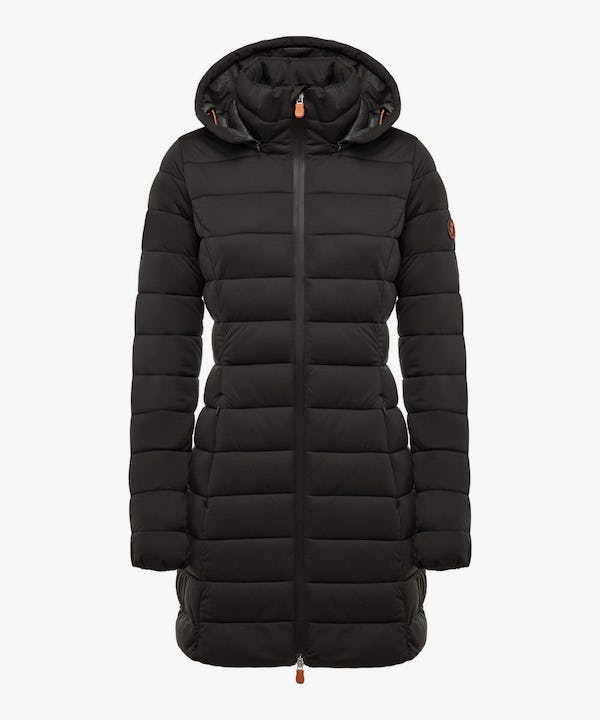 Women's Hooded Stretch Puffer Coat in Black