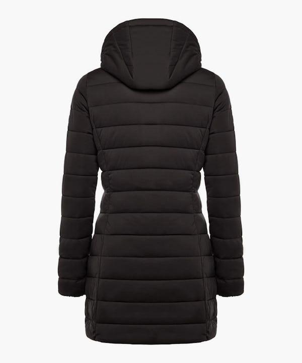 Women's Hooded Stretch Puffer Coat in Black