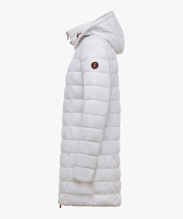 Women's Hooded Stretch Puffer Coat in Snow White