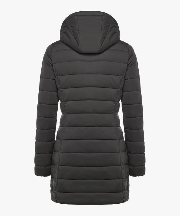 Women's Hooded Stretch Puffer Coat in Brown Black