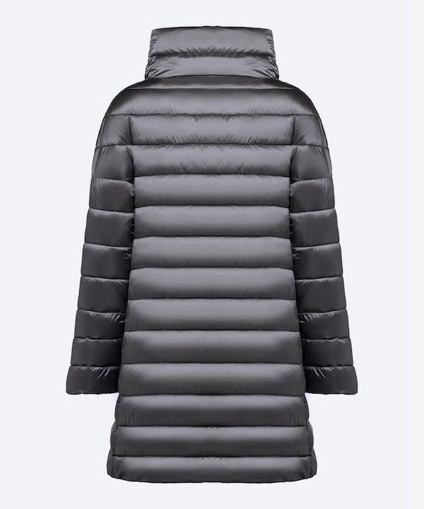 Women's Iridescent Puffer Coat in Steel Grey