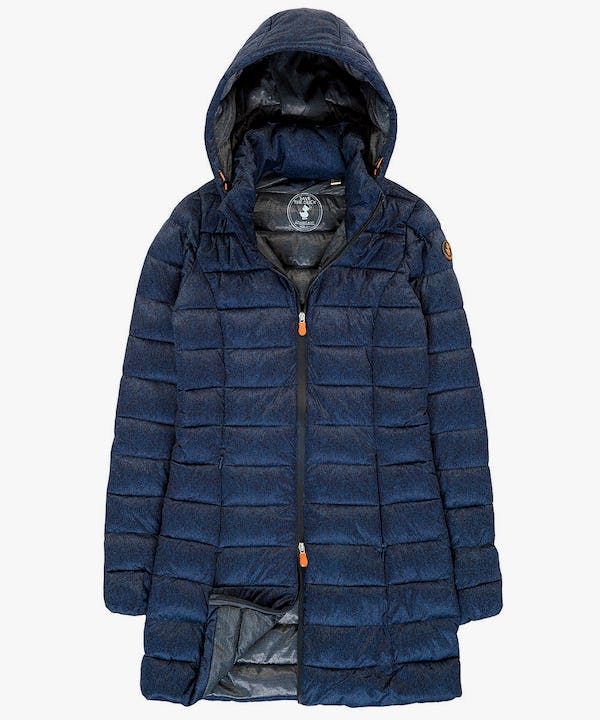 Women's Hooded Coat in Blue Melange
